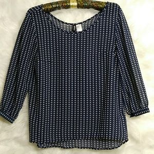 ❤ DIVIDED Heart Pattern Sheer Navy Blue Blouse